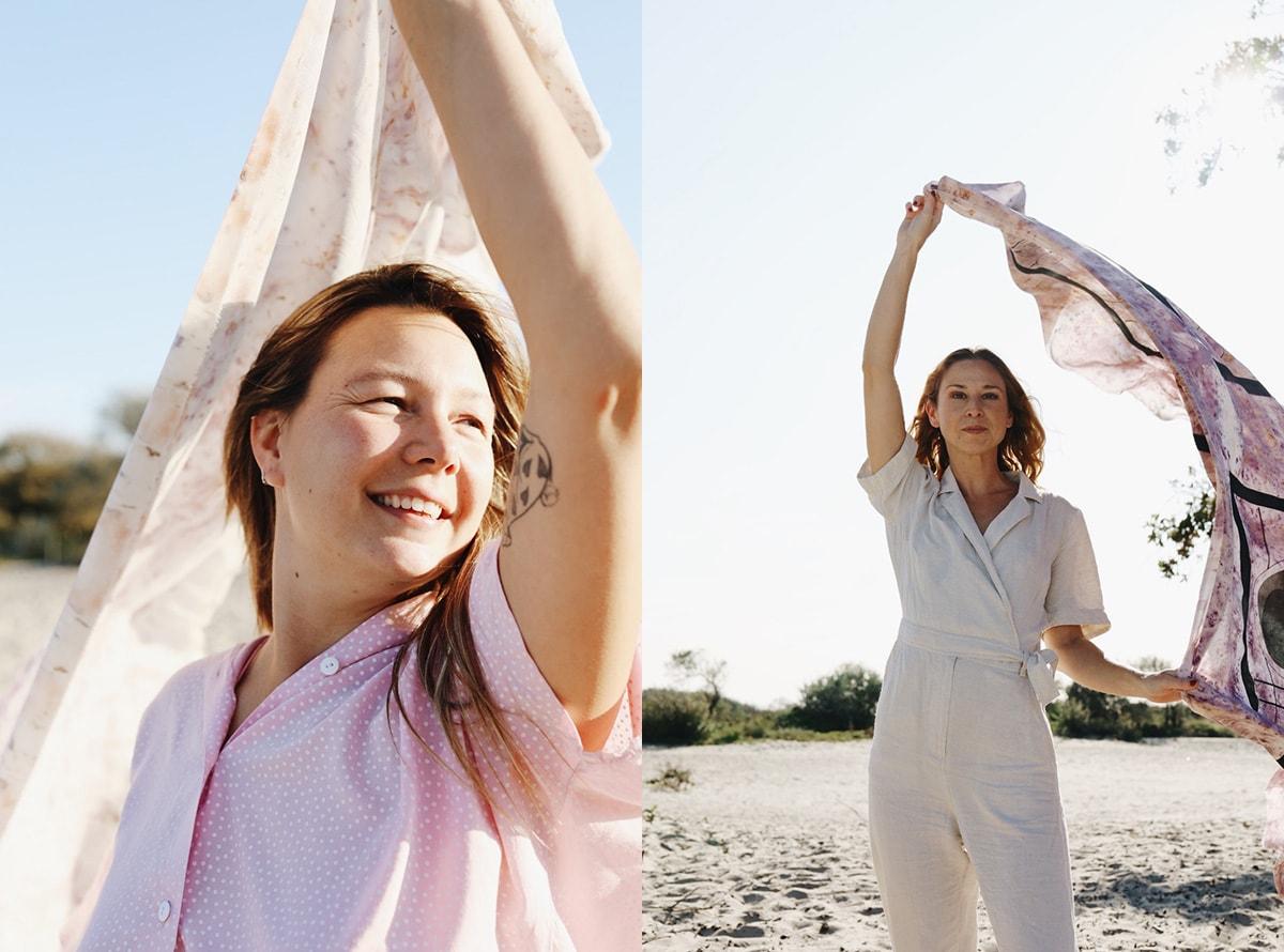Een sjaal geverfd met lieve bloemen: ontwerper Ilfa Siebenhaar wil bewustwording rond borstkanker