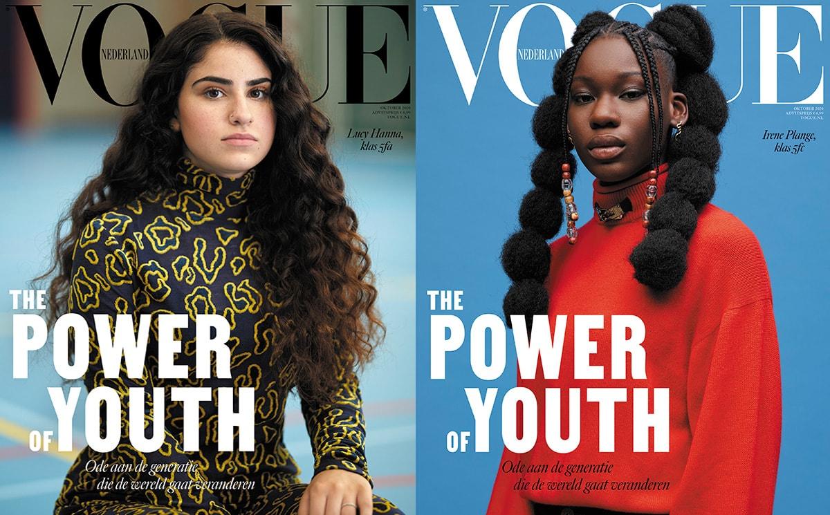 Middelbare scholieren op de cover van oktobernummer Vogue Nederland